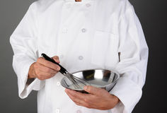Chef Holding Mixing Bowl and Whisk Stock Image