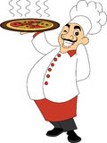Chef Holding Pizza Image libre de droits