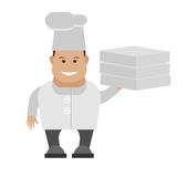 Chef holding pizza boxes Stock Images