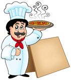 Chef holding pizza with table vector illustration