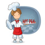 Chef holding plate with text Hot Sale Stock Photo