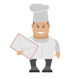Chef holding post envelope Stock Images