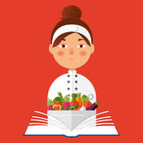 Chef holding recipe cookbook. Flat vector color illustration. Re. Flat vector color illustration. Restaurant menu design. Chef holding recipe cookbook Stock Image