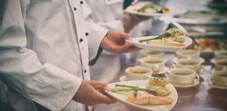 Chef holding salmon dishes Royalty Free Stock Photography