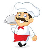 Chef Holding Silver Cloche. Clipart Picture of a Chef Cartoon Character Holding Silver Cloche Stock Photo