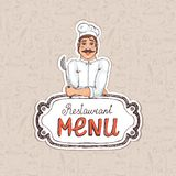 Chef Holding Spoon on Restaurant Menu Illustration Royalty Free Stock Image