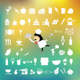 Chef holding a tray of food cartoon. Chef holding a tray of food vector cartoon Stock Images