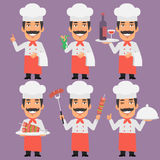 Chef Holding Tray Skewers Frog and Wine Stock Image