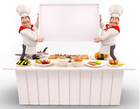 Chef holding white sign on the table Royalty Free Stock Photo
