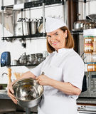 Chef Holding Wire Whisk And Mixing Bowl Stock Images