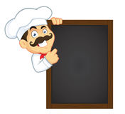Chef Holding Wooden Menu Board. Clipart Picture of a Chef Cartoon Character Holding Wooden Menu Board Royalty Free Stock Photos