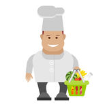 Chef holds a basket with food Royalty Free Stock Images