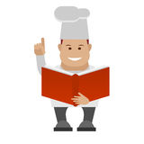 Chef holds a book Royalty Free Stock Photo