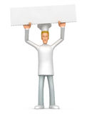 Chef holds over a banner Royalty Free Stock Photos