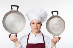 Chef holds pots Stock Photos