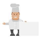 Chef holds a presentation card Stock Photography