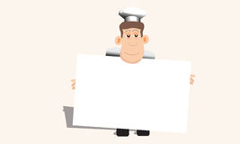 Chef Holds Up A Blank Menu. A chef holds up a blank menu ready to be filled in with the selections of the day, recipes, pastries or an invitation for diner Royalty Free Stock Photography