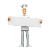 Chef holds up a poster Stock Photos