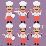 Chef Holds Wine and Notebook Royalty Free Stock Photography