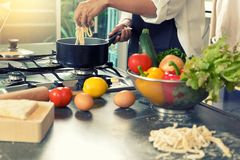 Chef Home Made Do Pasta Soba Noodle In The Kitchen Stock Images