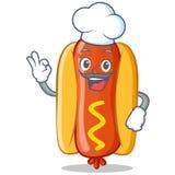 Chef-Hot Dog Cartoon-Charakter Lizenzfreie Stockfotografie