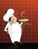 Chef with hot pizza. Ä°llustration of cute chef serving hot and delicious pizza stock illustration