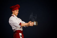 Chef with hot pot Stock Images