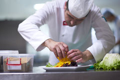 Chef in hotel kitchen preparing and decorating food Stock Photos