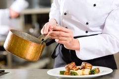 Chef in hotel or restaurant kitchen cooking royalty free stock photos