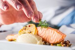 Chef in hotel or restaurant kitchen cooking, only hands. Prepared salmon steak with dill decoration royalty free stock image