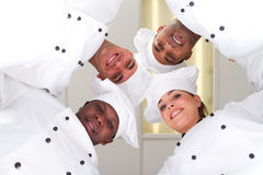 Chef huddle. Four happy young diverse professional chef in a huddle Royalty Free Stock Image