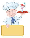 Chef with Ice Cream and Strawberries Royalty Free Stock Photography
