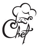 Chef icon. Monochrome illustration of chef with hat Royalty Free Stock Images