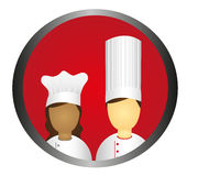 Chef icon. Circle isolated over white background. vector Stock Image