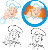 Chef icon and outline Stock Photography