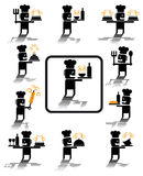 Chef icons. Set of illustrations of chef icons Stock Photo