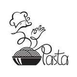 Chef icons with dish of pasta Royalty Free Stock Photos