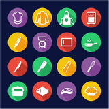 Chef Icons Flat Design Circle Stock Photo
