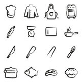 Chef Icons Freehand Royalty Free Stock Photo