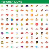 100 chef icons set, cartoon style. 100 chef icons set in cartoon style for any design illustration stock illustration