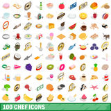 100 chef icons set, isometric 3d style Stock Image