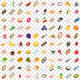 100 chef icons set, isometric 3d style Royalty Free Stock Photography