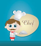 Chef  illustration. On blue background Stock Photo