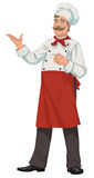 Chef - Illustration. A happy chef presenting something Stock Image