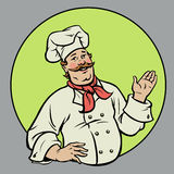 Chef - Illustration. Happy chef presenting something in a circle royalty free illustration
