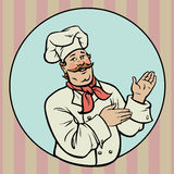 Chef - Illustration. A happy chef presenting something in a circle royalty free illustration