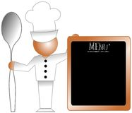 stylized Chef with spoon and menu isolated Stock Images