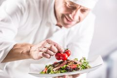 Free Chef In The Kitchen Of The Hotel Or Restaurant Decorates The Food Just Before Serving Stock Images - 160373294