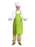 Chef inviting in restaurant. Isolated over white background Stock Photos