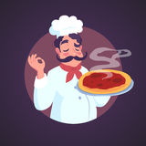 Chef of Italian appearance and steaming pizza. Vector illustration. Stock Image
